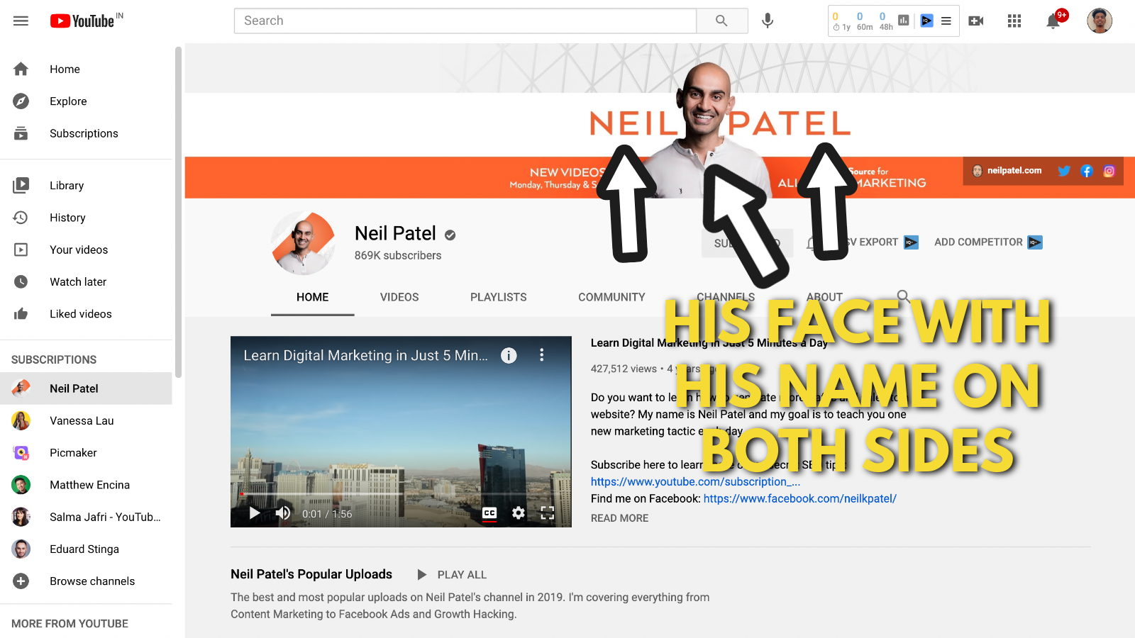 Neil Patel's Youtube banner example screenshot 1