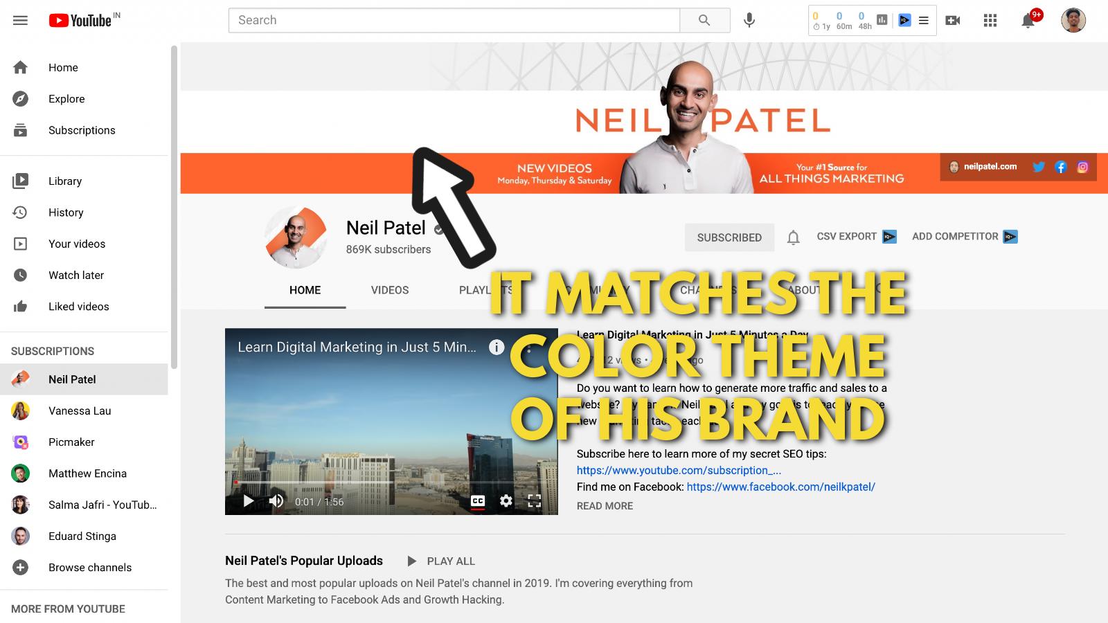 Neil Patel's Youtube banner example screenshot 2