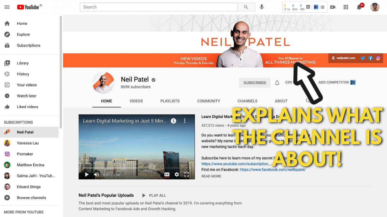 Neil Patel's Youtube banner example screenshot 3