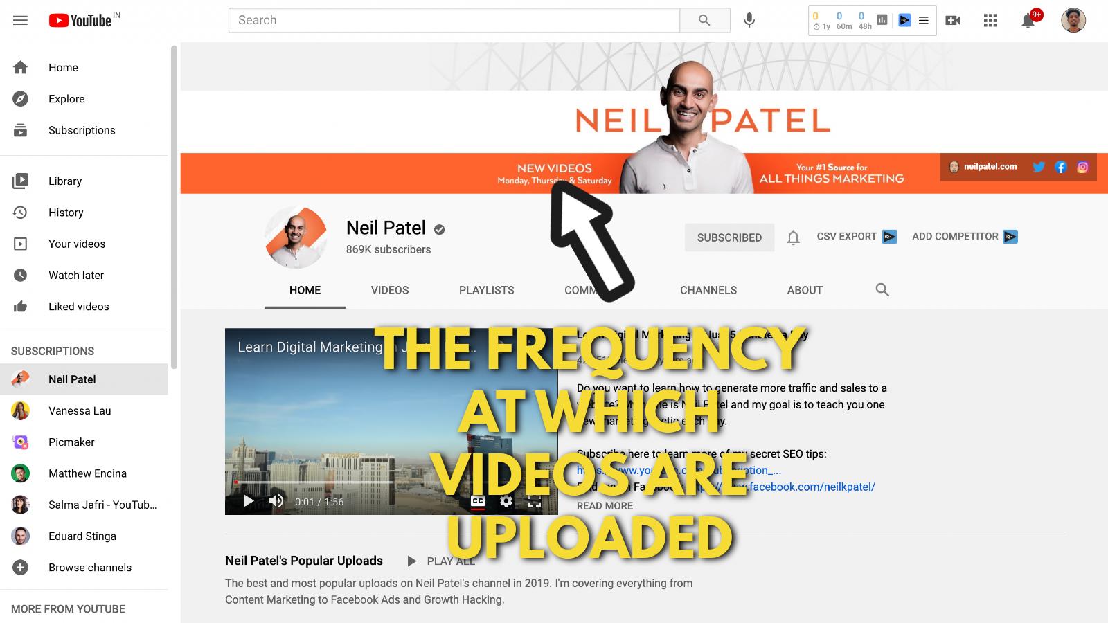 Neil Patel's Youtube banner example screenshot 4