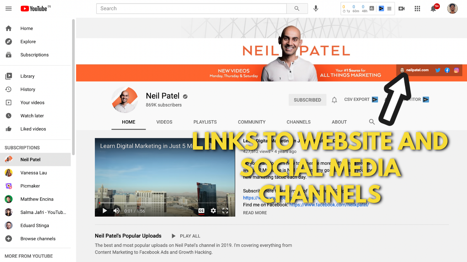 Neil Patel's Youtube banner example screenshot 5