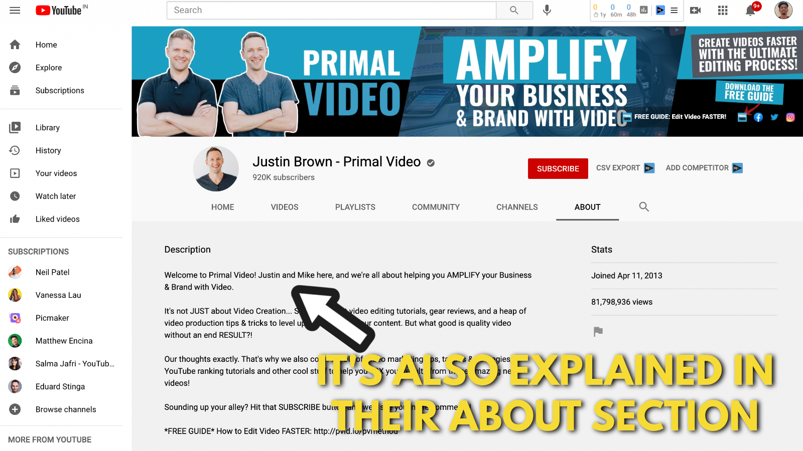A screenshot of Primal video's YouTube channel 3