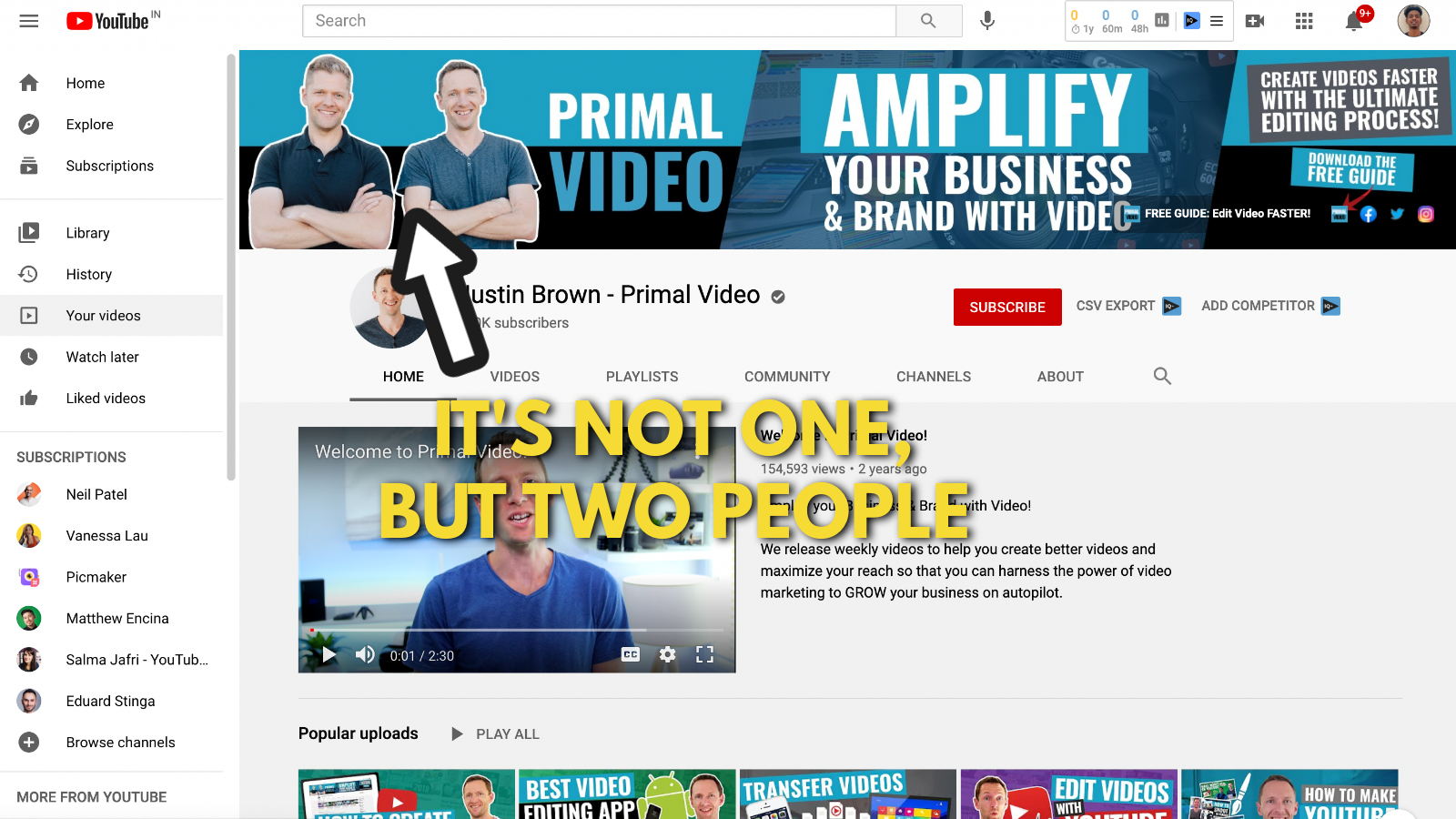 A screenshot of Primal video's YouTube channel 2