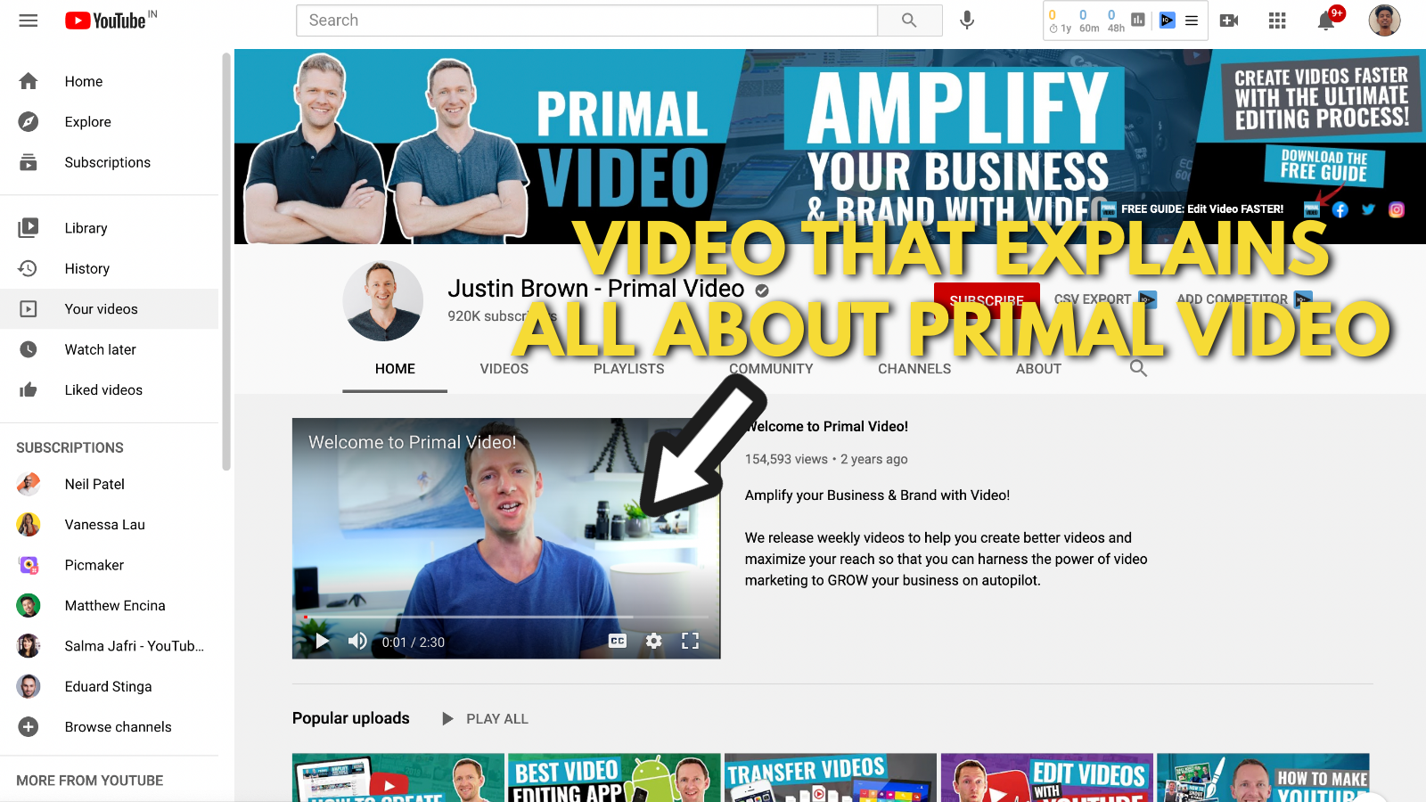 A screenshot of Primal video's YouTube channel 4