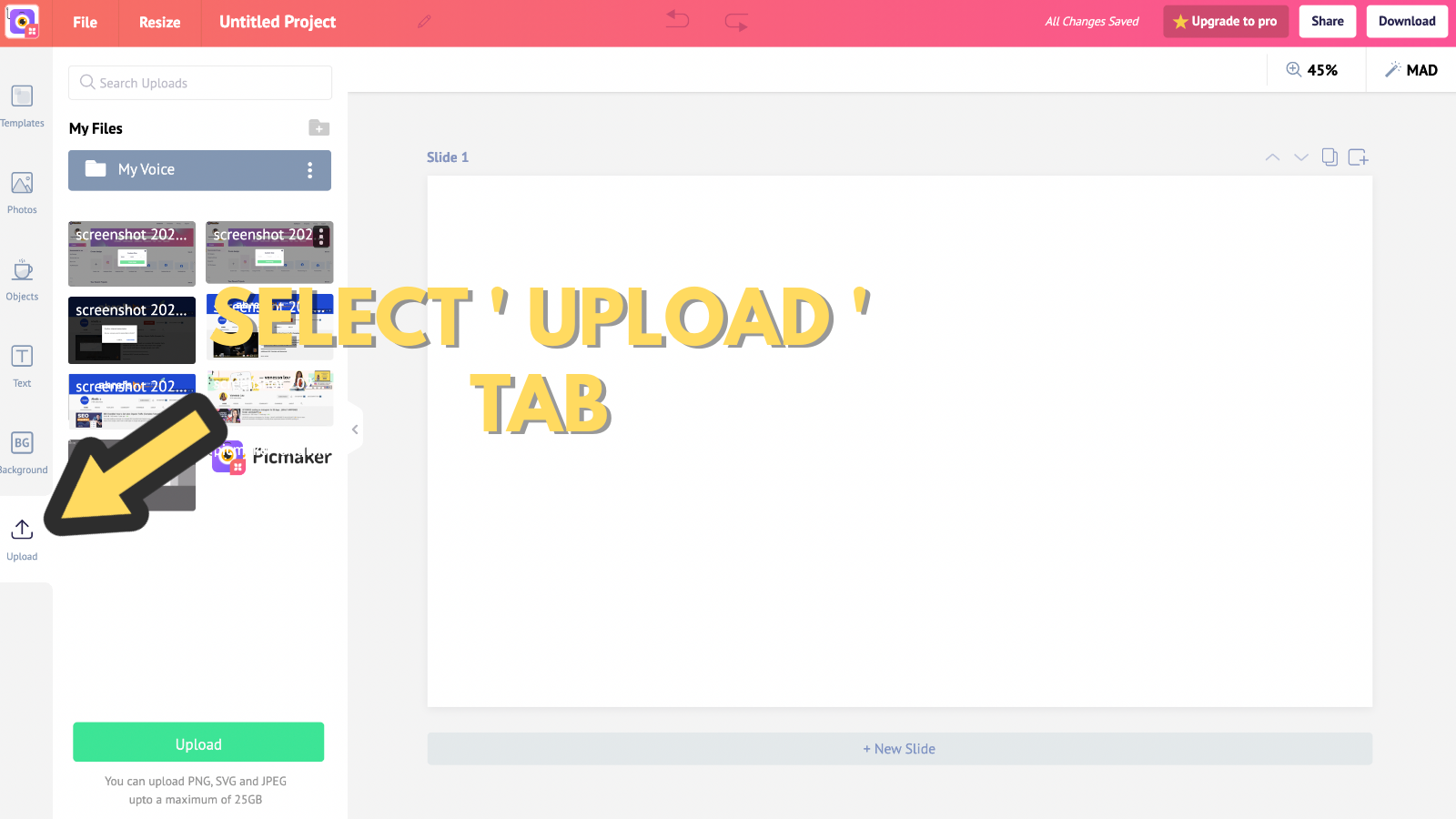 Screenshot that asks to select upload tab (to make youtube banner)