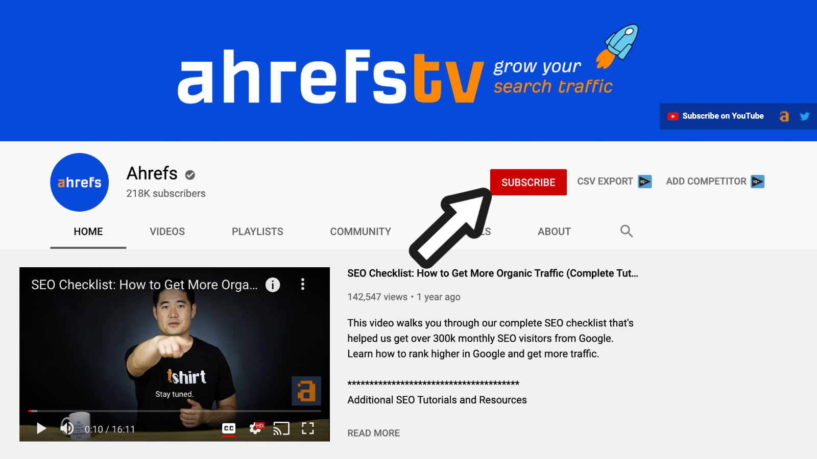 a screenshot of ahrefs Youtube channel