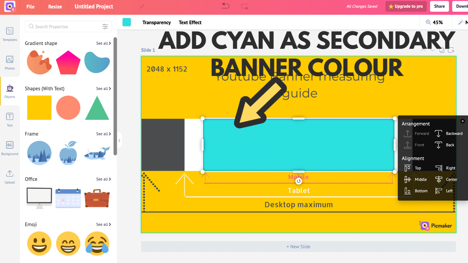 Screenshot that states cyan as secondary banner colour