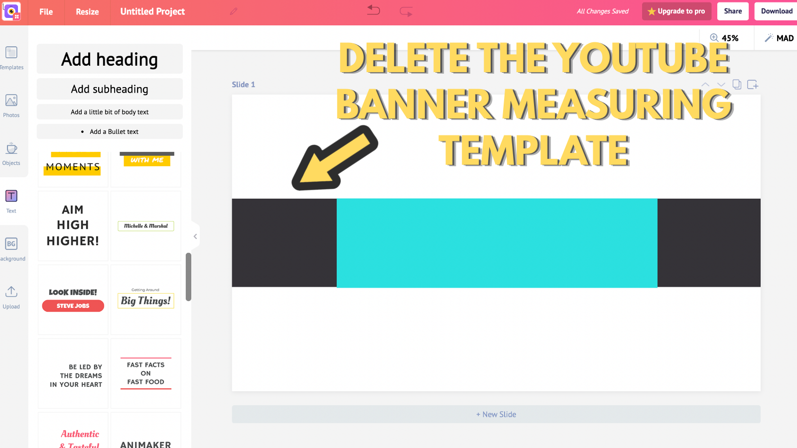 Screenshot that asks you to delete the youtube banner measuring template (to make youtube banner)