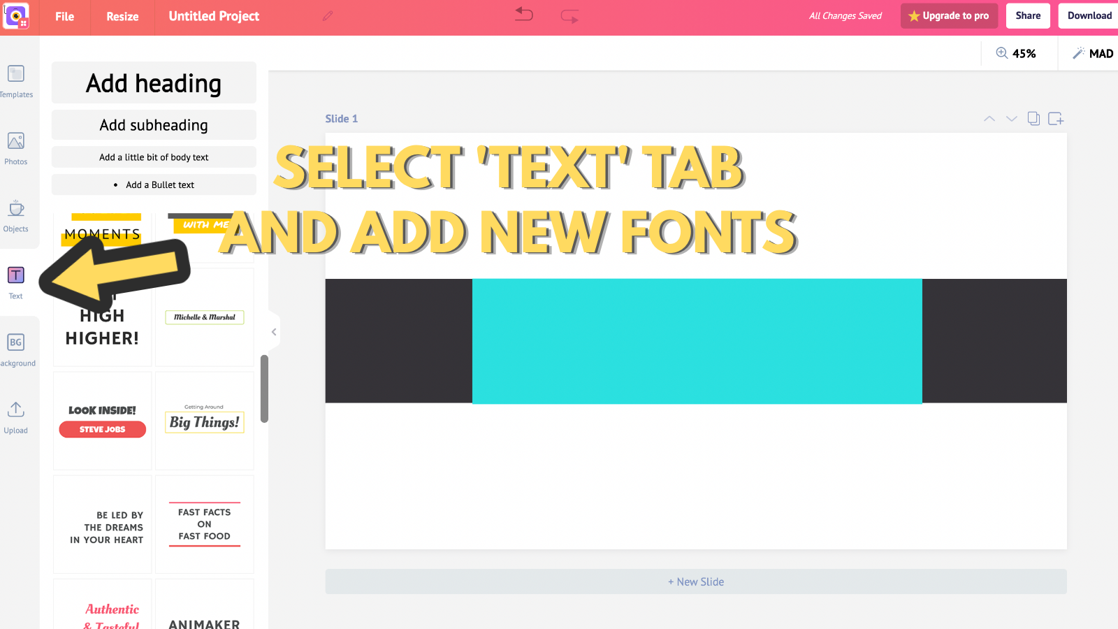 Screenshot that asks to select text tab and add new fonts (to make youtube banner)