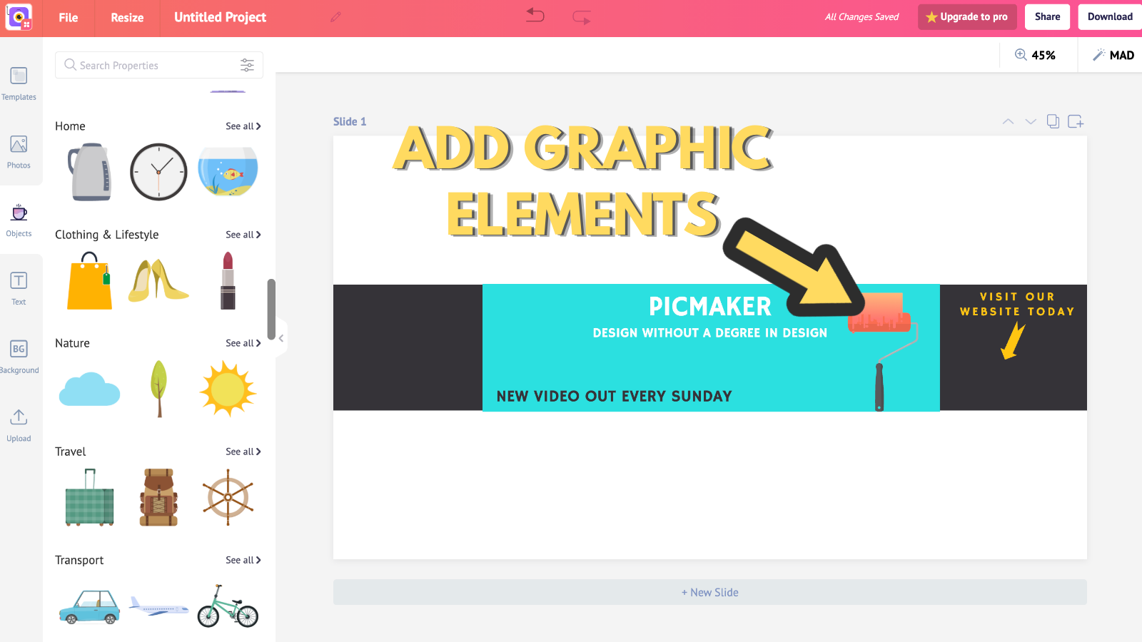 Screenshot that asks to add graphic elements (to make youtube banner)