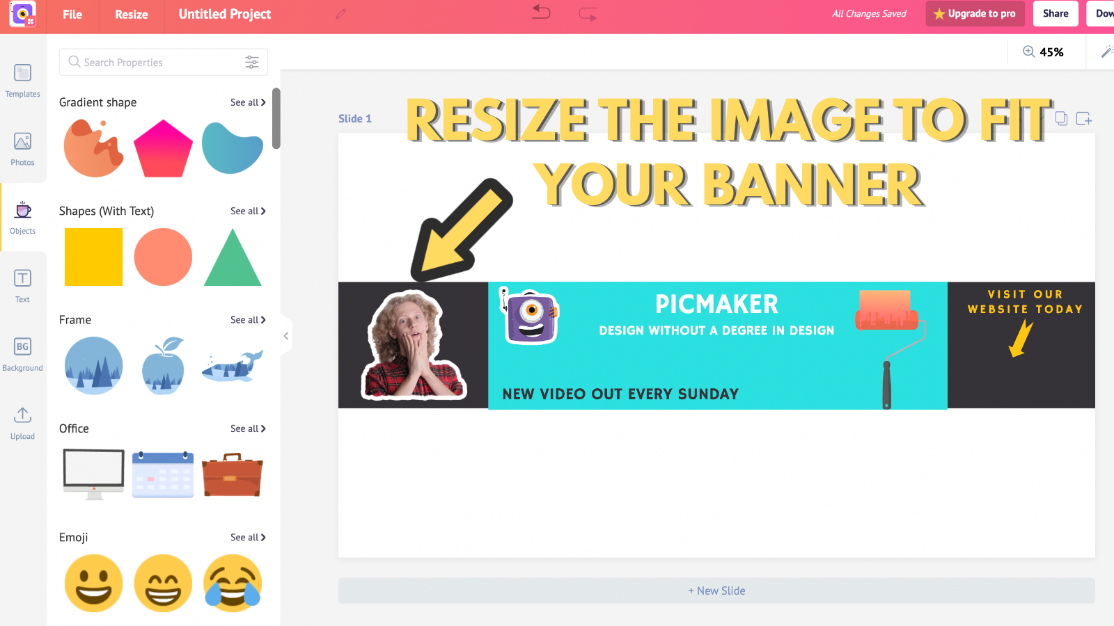 Screenshot that asks you to resize the image to fit your banner (to make youtube banner)