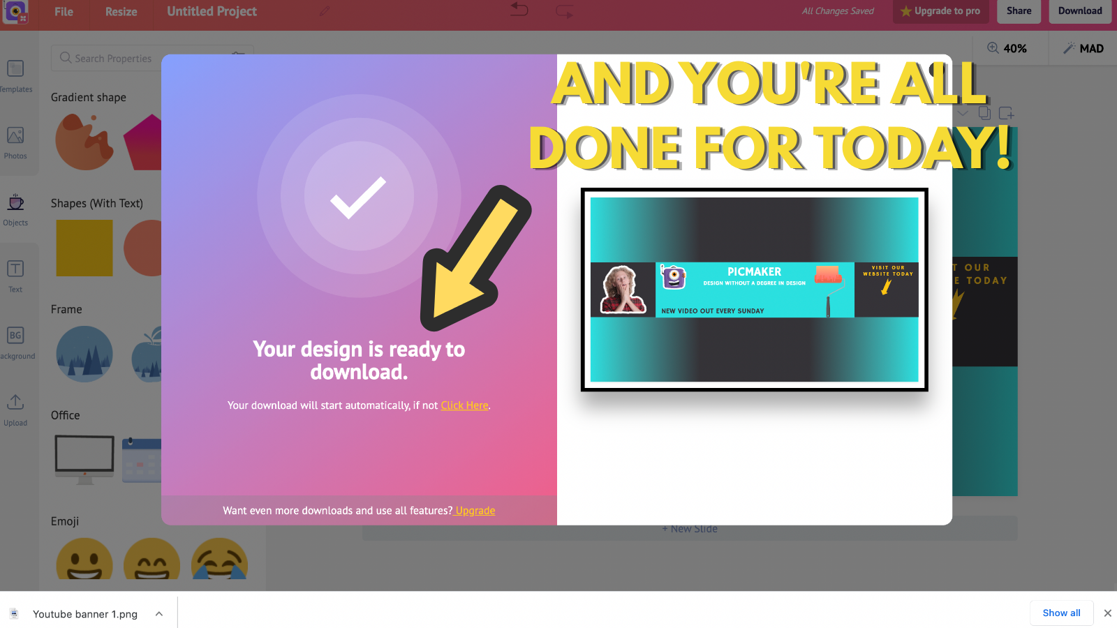 Screenshot that shows that your Youtube banner is downloaded (to make youtube banner)