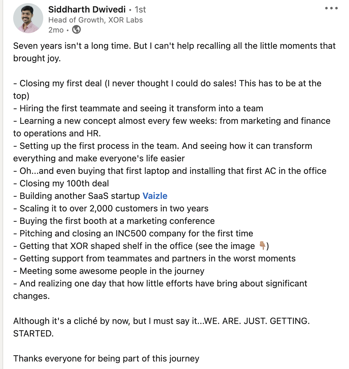 Linkedin post of one of the bets performance marketing specialists in India
