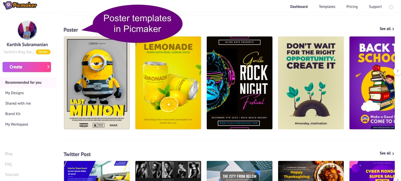 Picmaker's poster templates at a glance on the dashboard
