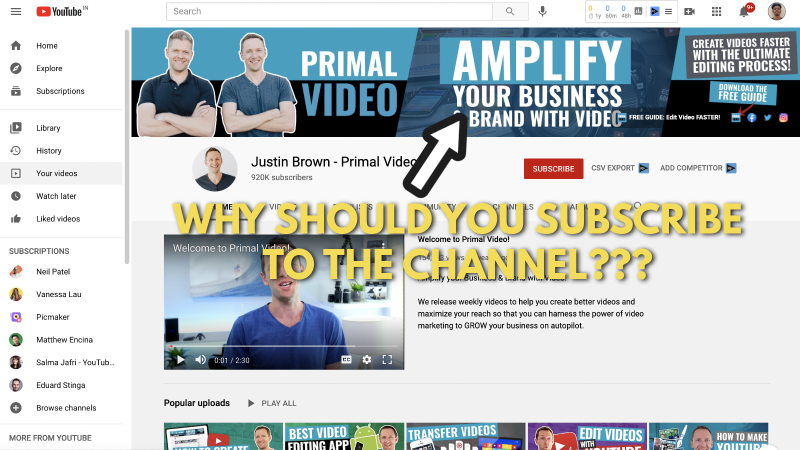 A screenshot of Primal video's YouTube channel 6