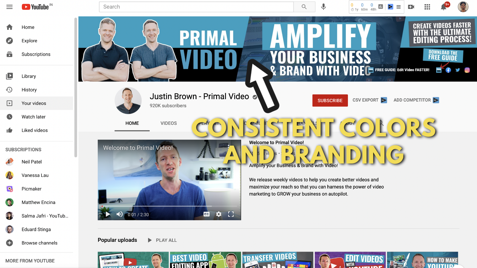 A screenshot of Primal video's YouTube channel 5