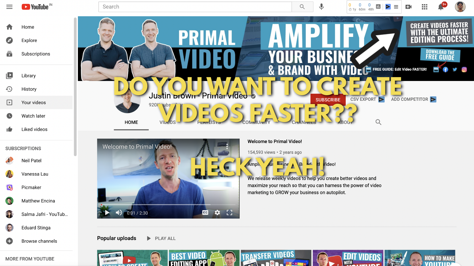 A screenshot of Primal video's YouTube channel 7