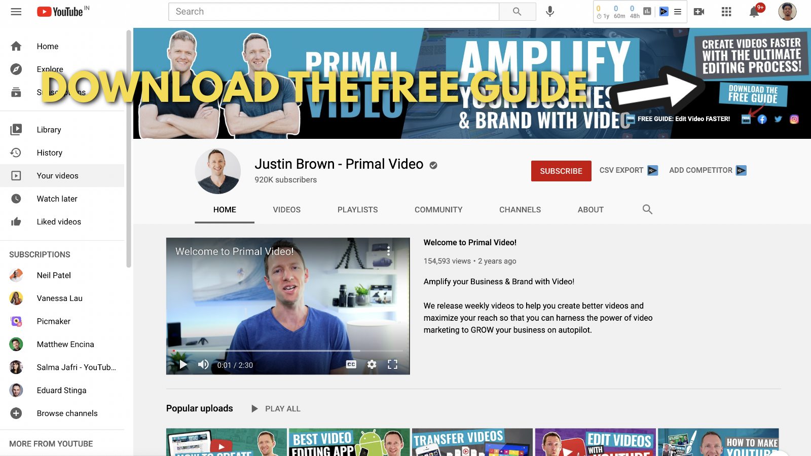 A screenshot of Primal video's YouTube channel 8