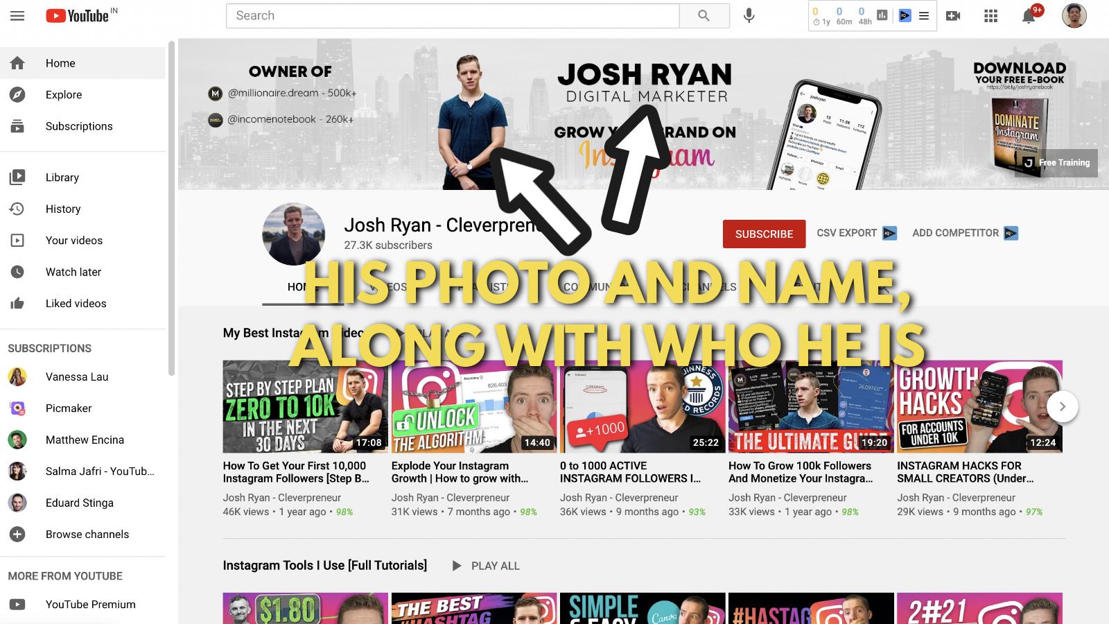 A screenshot of Josh Ryan's YouTube banner example 2