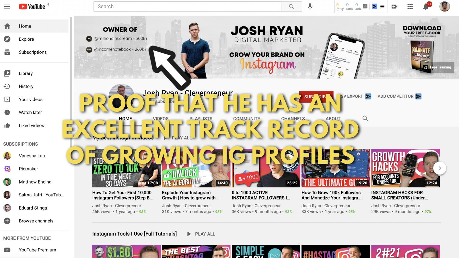 A screenshot of Josh Ryan's YouTube banner example 3