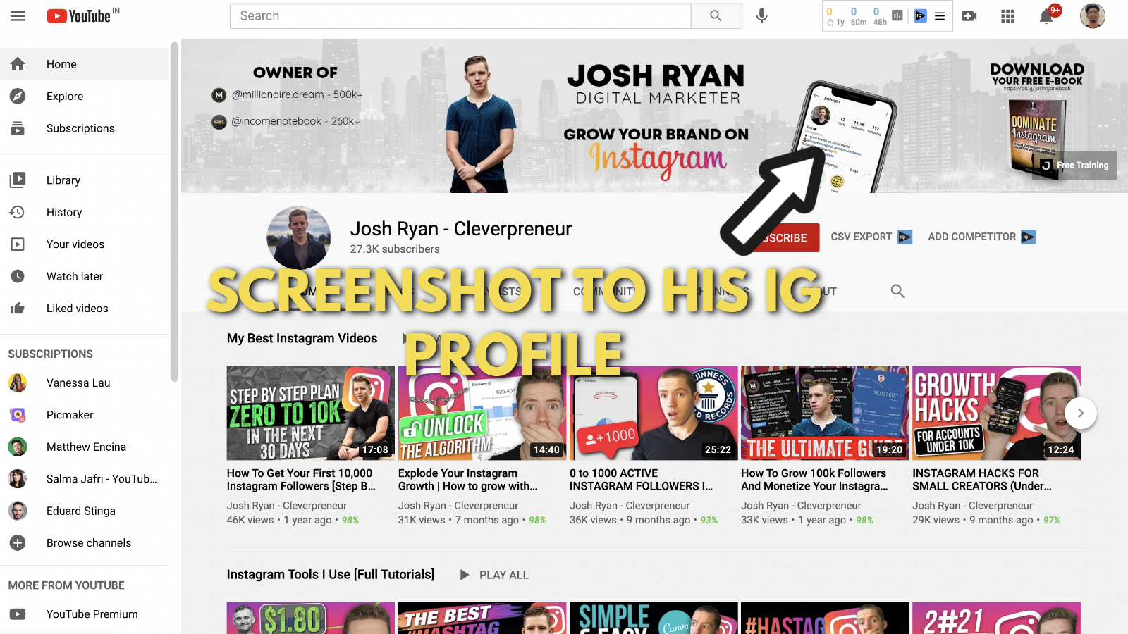 A screenshot of Josh Ryan's YouTube banner example 4