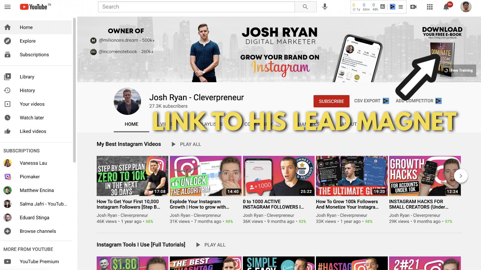 A screenshot of Josh Ryan's YouTube banner example 5