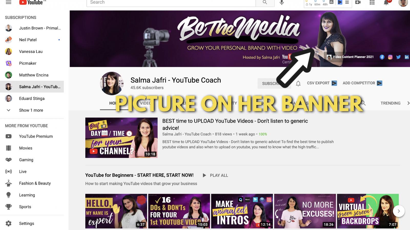 A screenshot of Salma Jaffri's Youtube channel 2