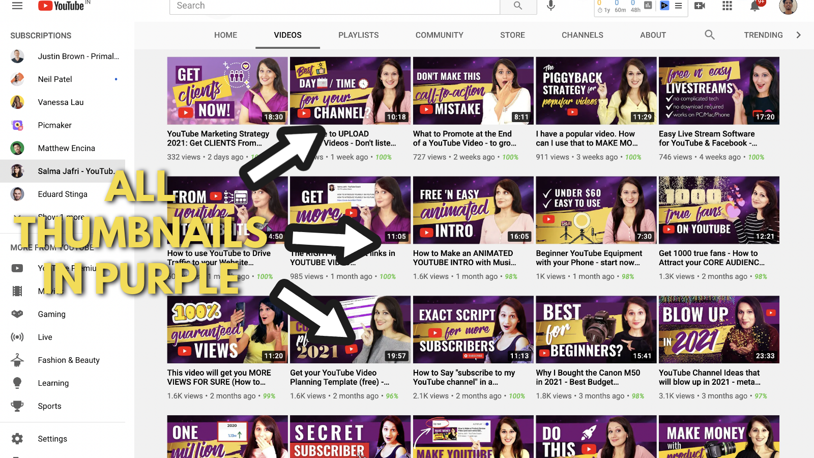 A screenshot of Salma Jaffri's Youtube channel 4
