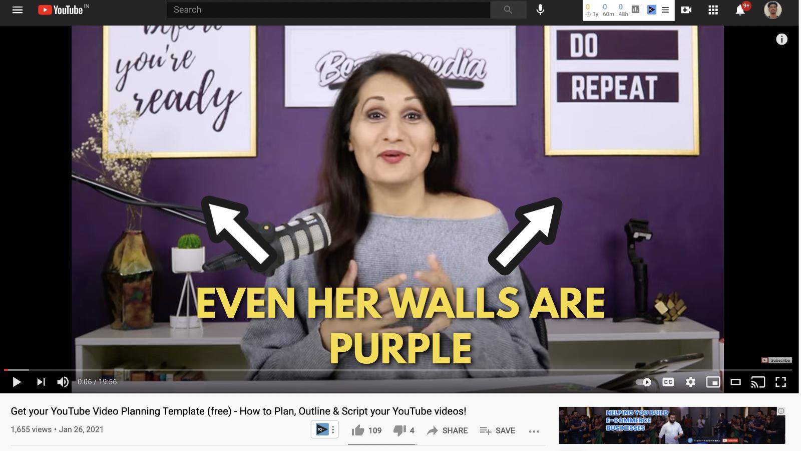 A screenshot of Salma Jaffri's Youtube video 1