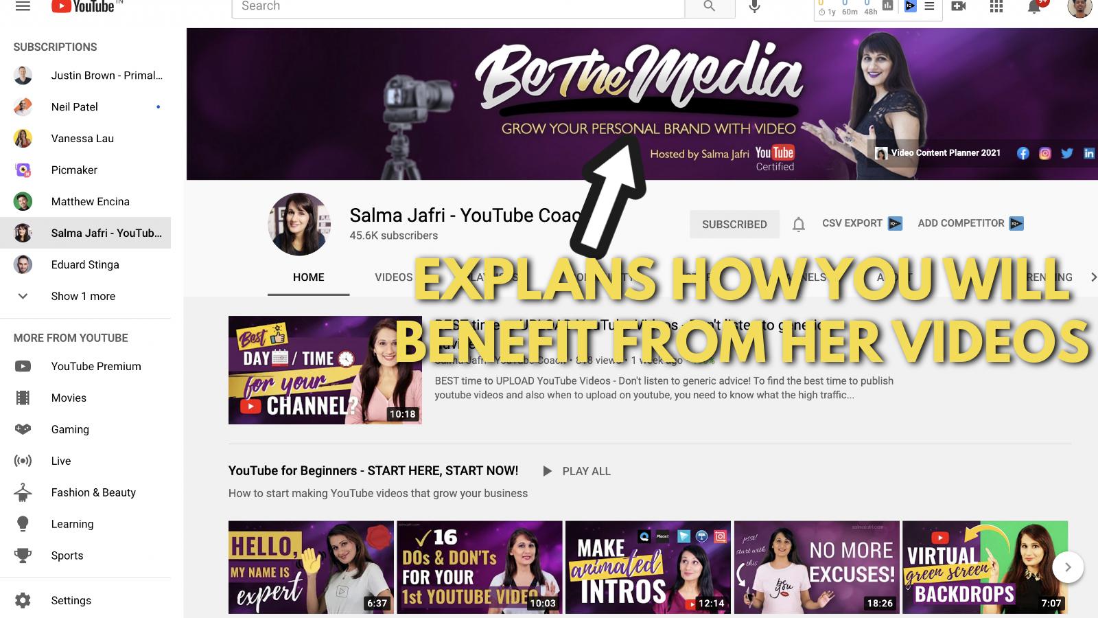 A screenshot of Salma Jaffri's Youtube channel 5