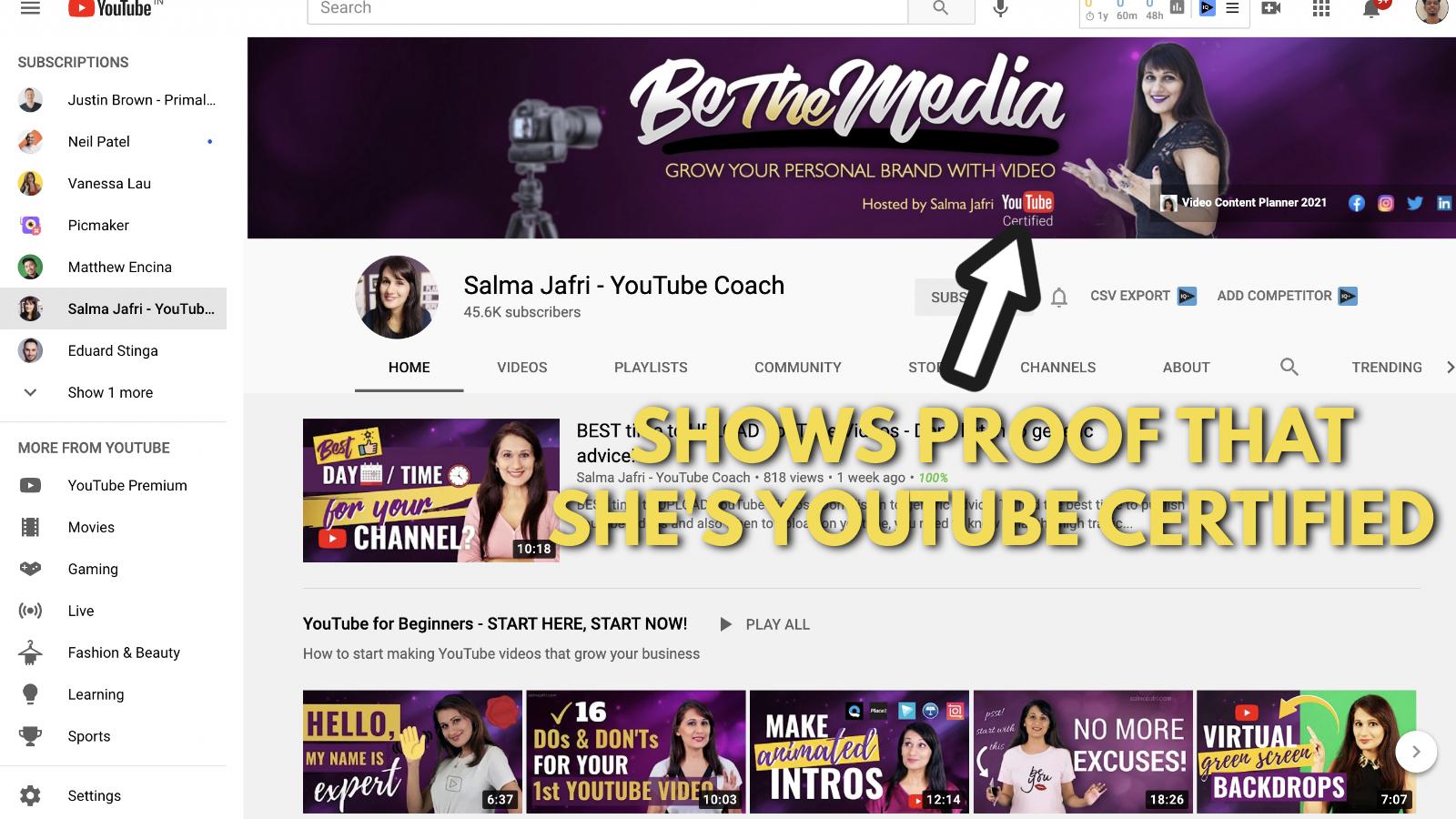 A screenshot of Salma Jaffri's Youtube channel 6