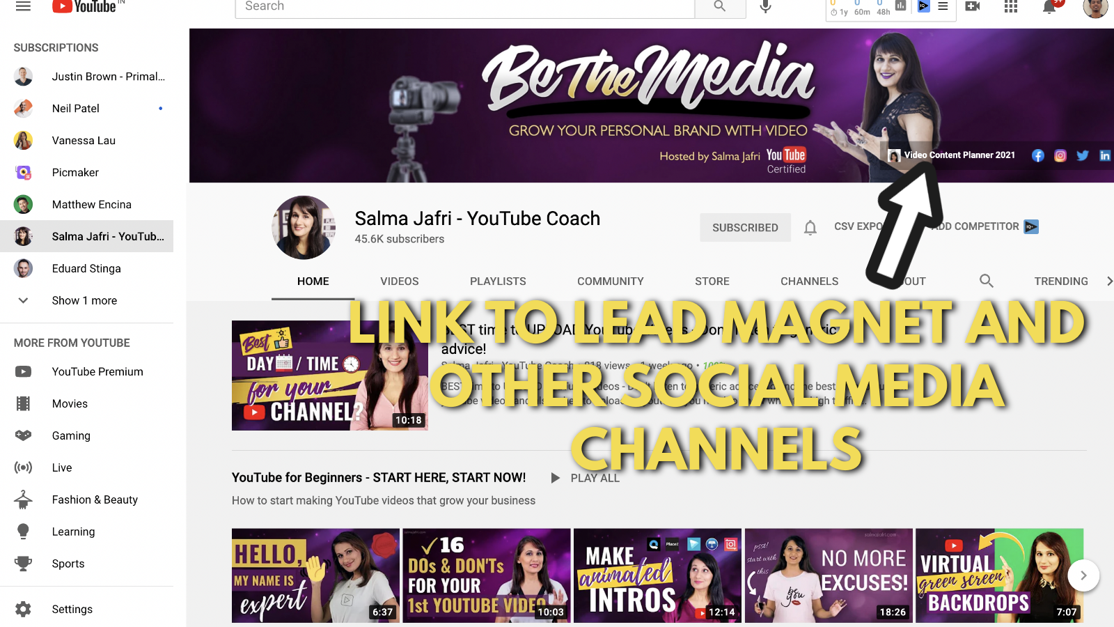A screenshot of Salma Jaffri's Youtube channel 7