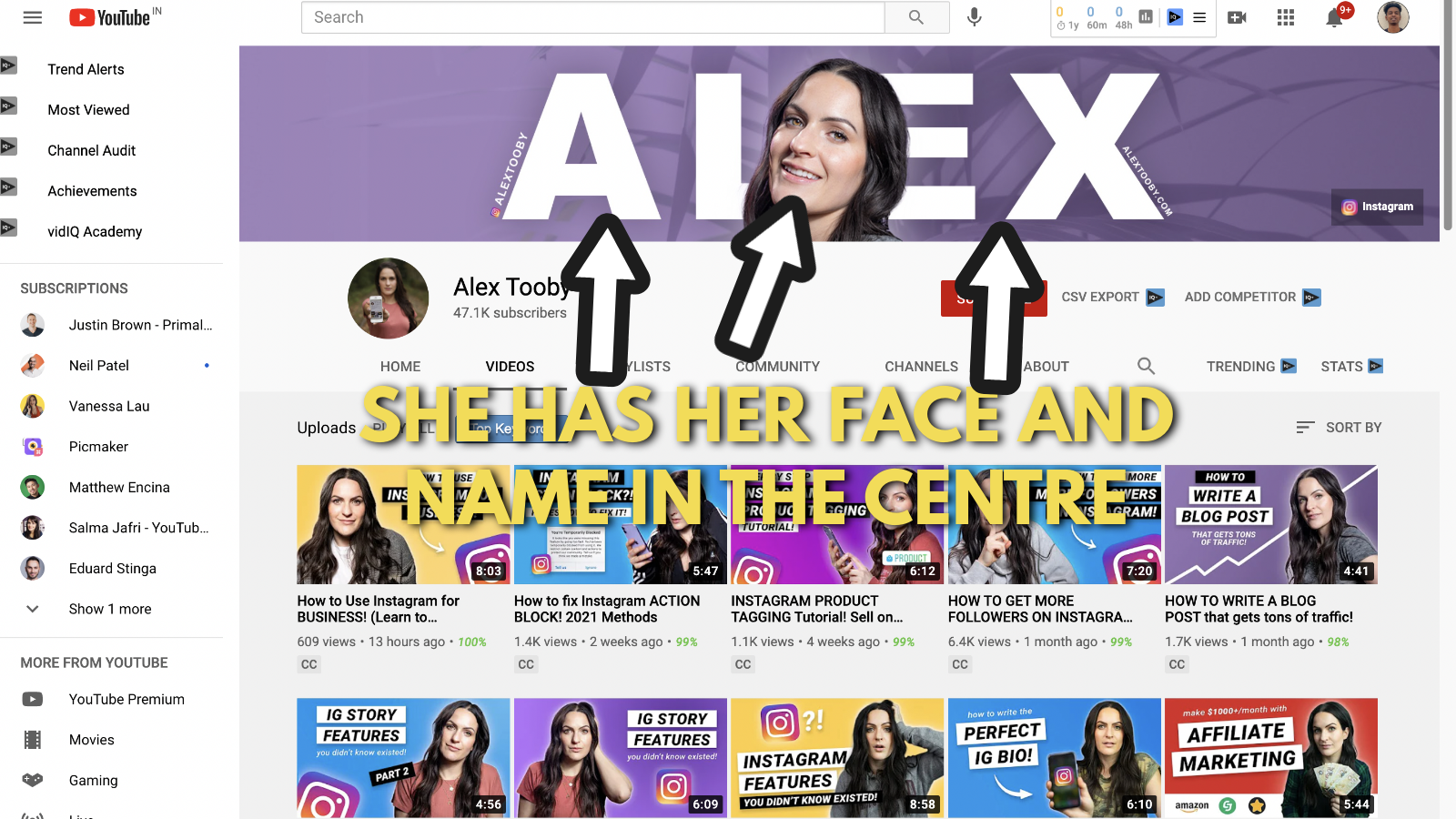 Screenshot of Alex toby's Youtube banner example 2
