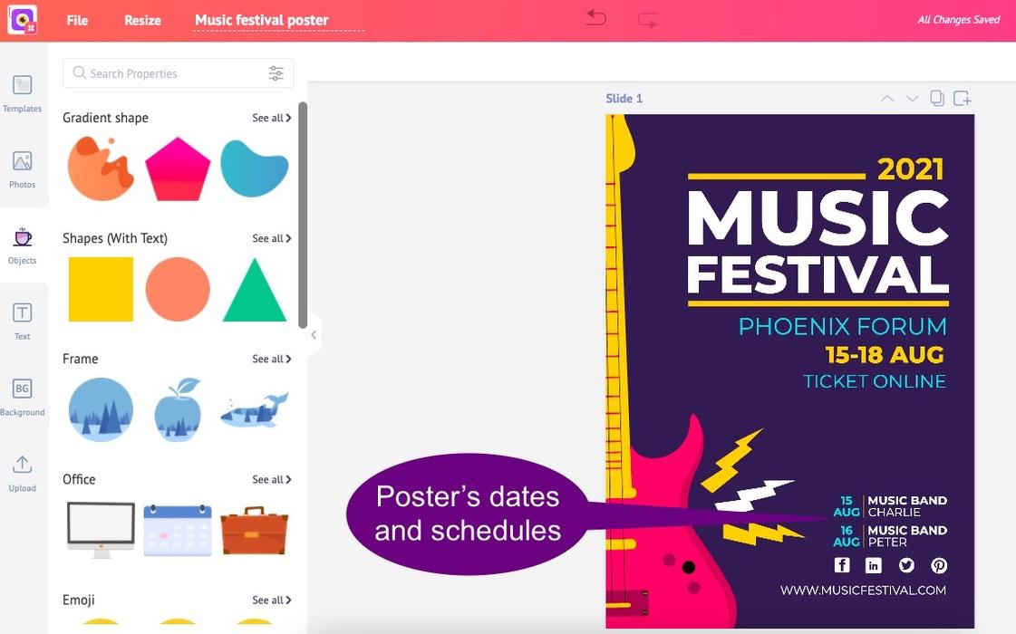 Picmaker's poster on music festivals