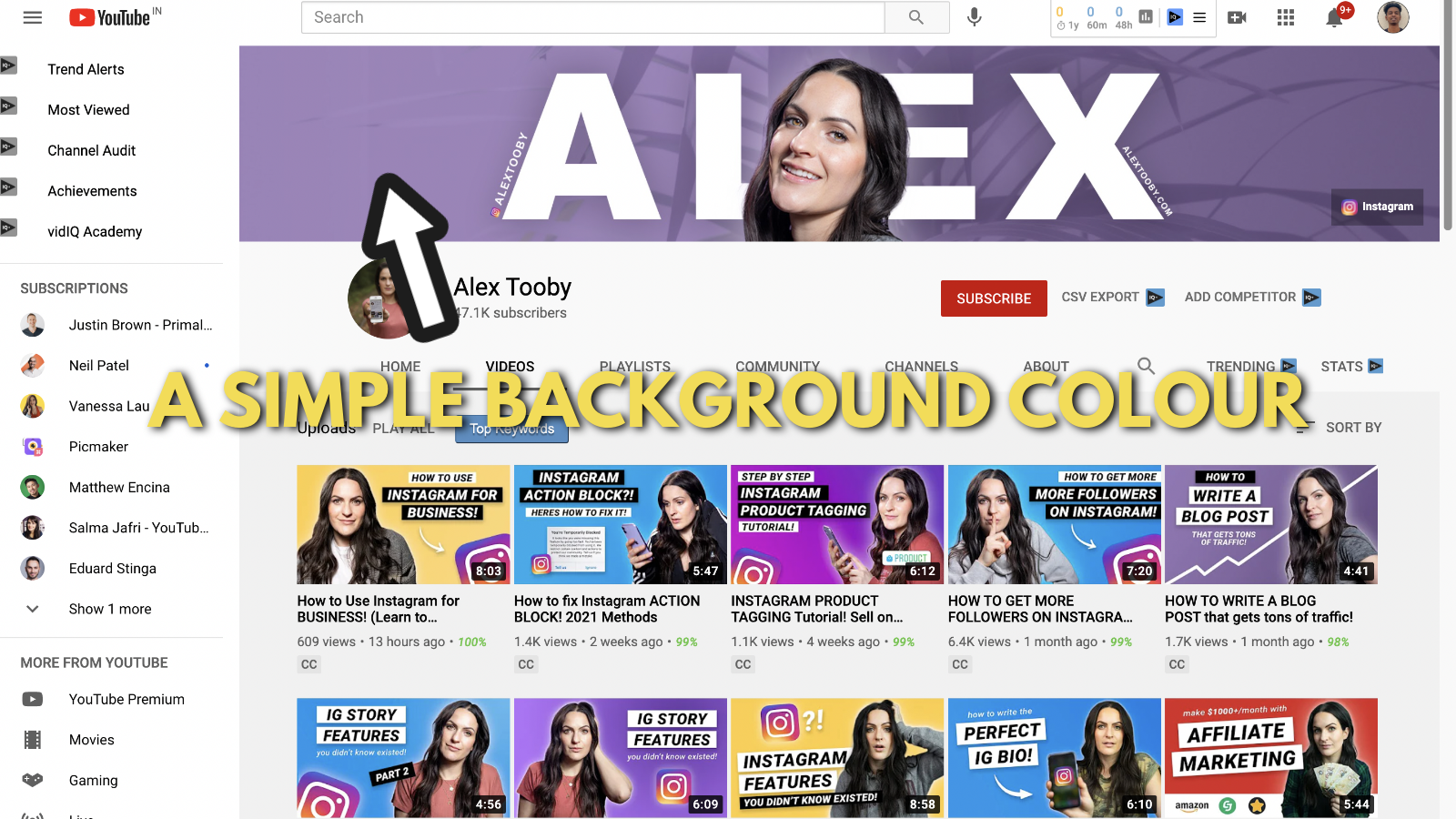 Screenshot of Alex toby's Youtube banner example 3