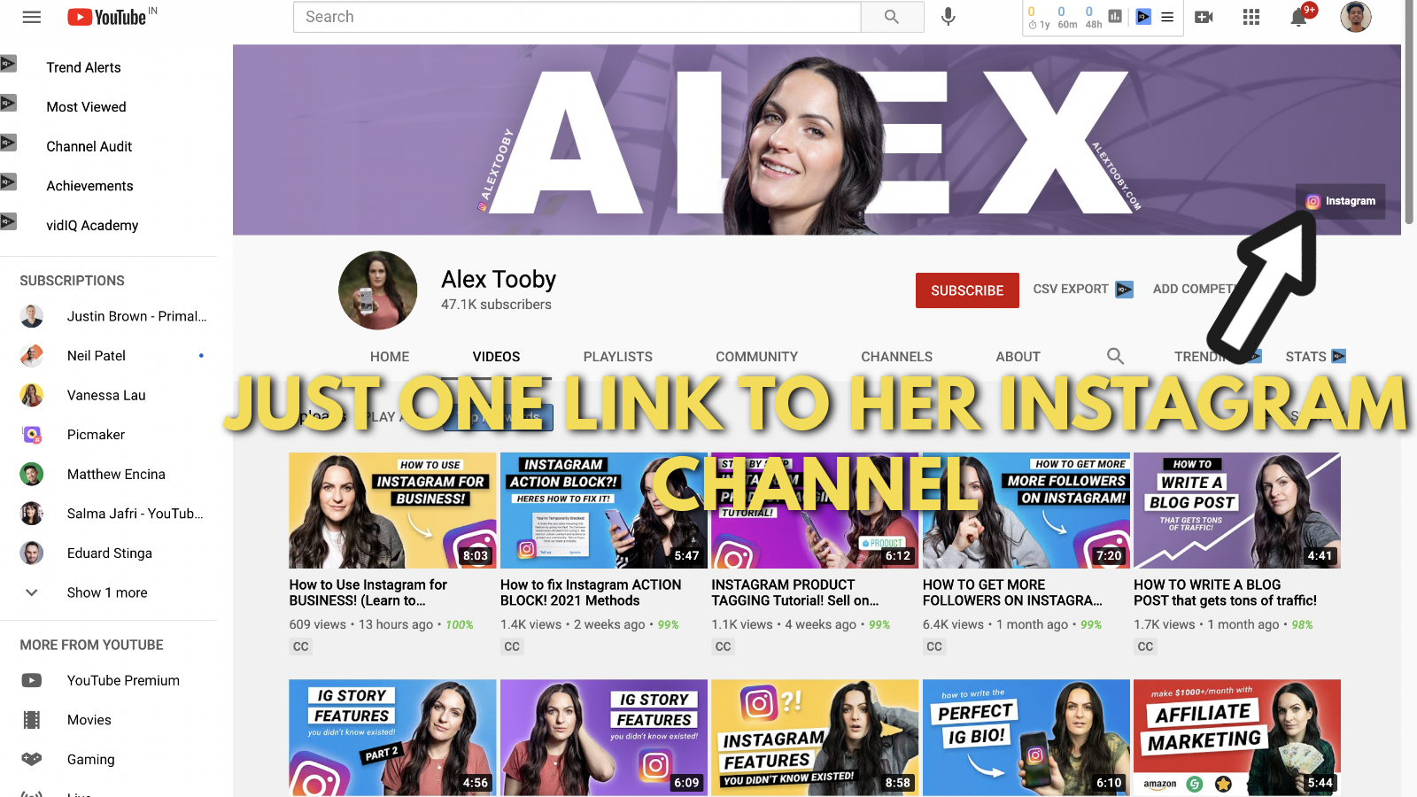 Screenshot of Alex toby's Youtube banner example 5