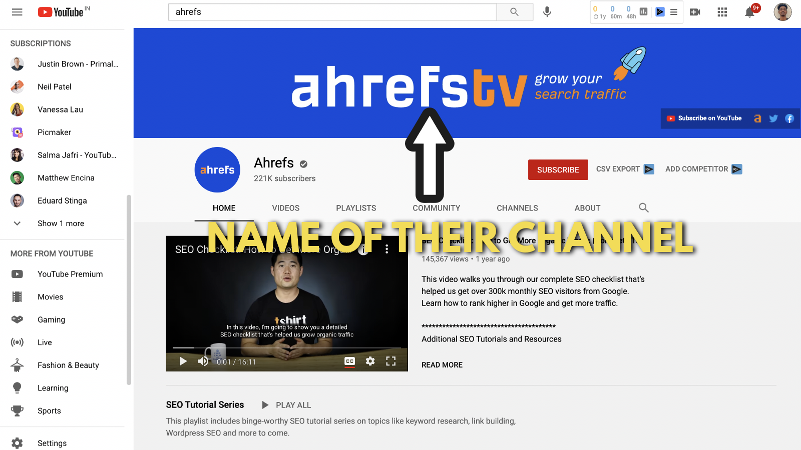 Screenshot of Ahrefs's youtube banner example 2