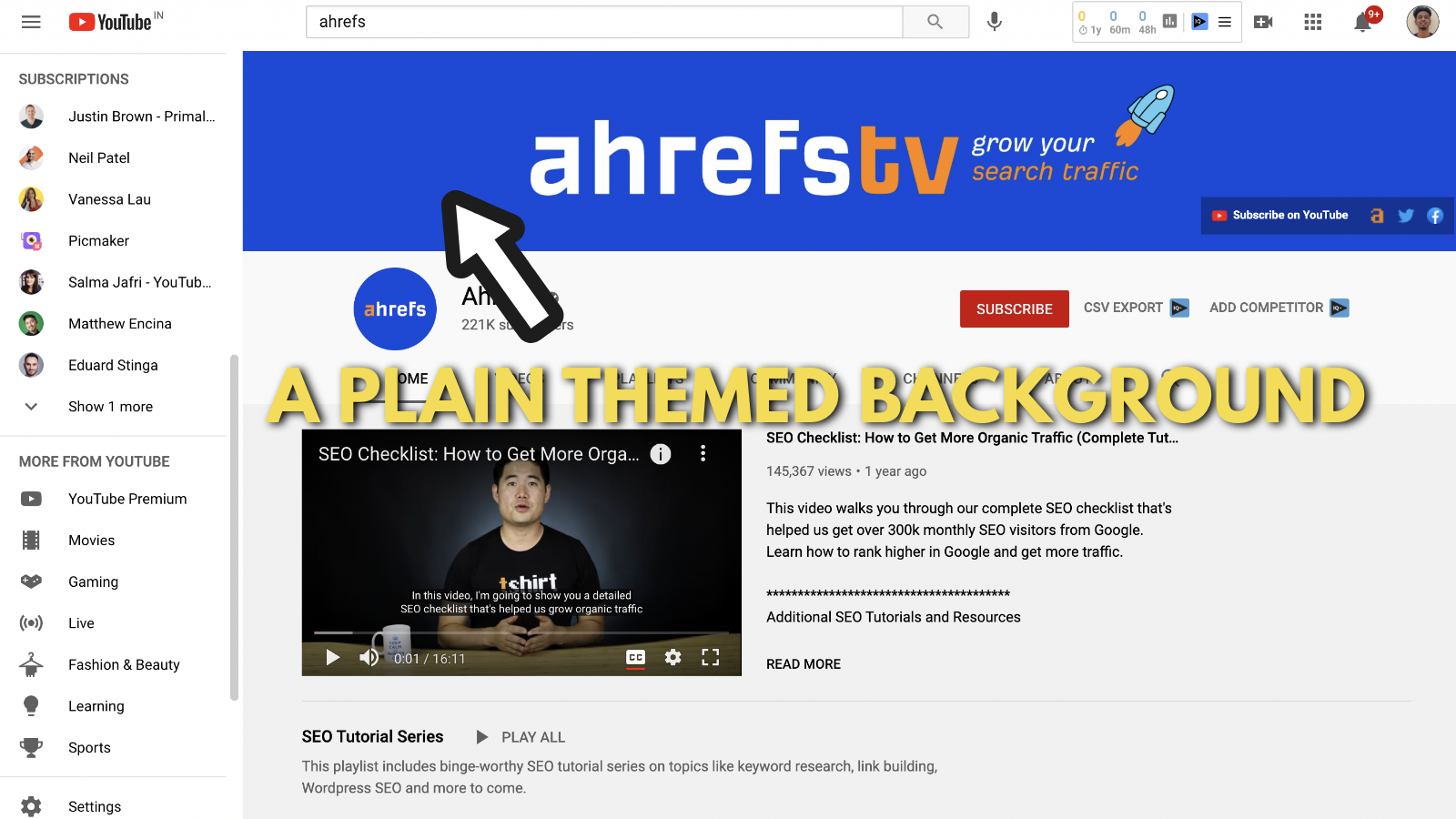 Screenshot of Ahrefs's youtube banner example 3