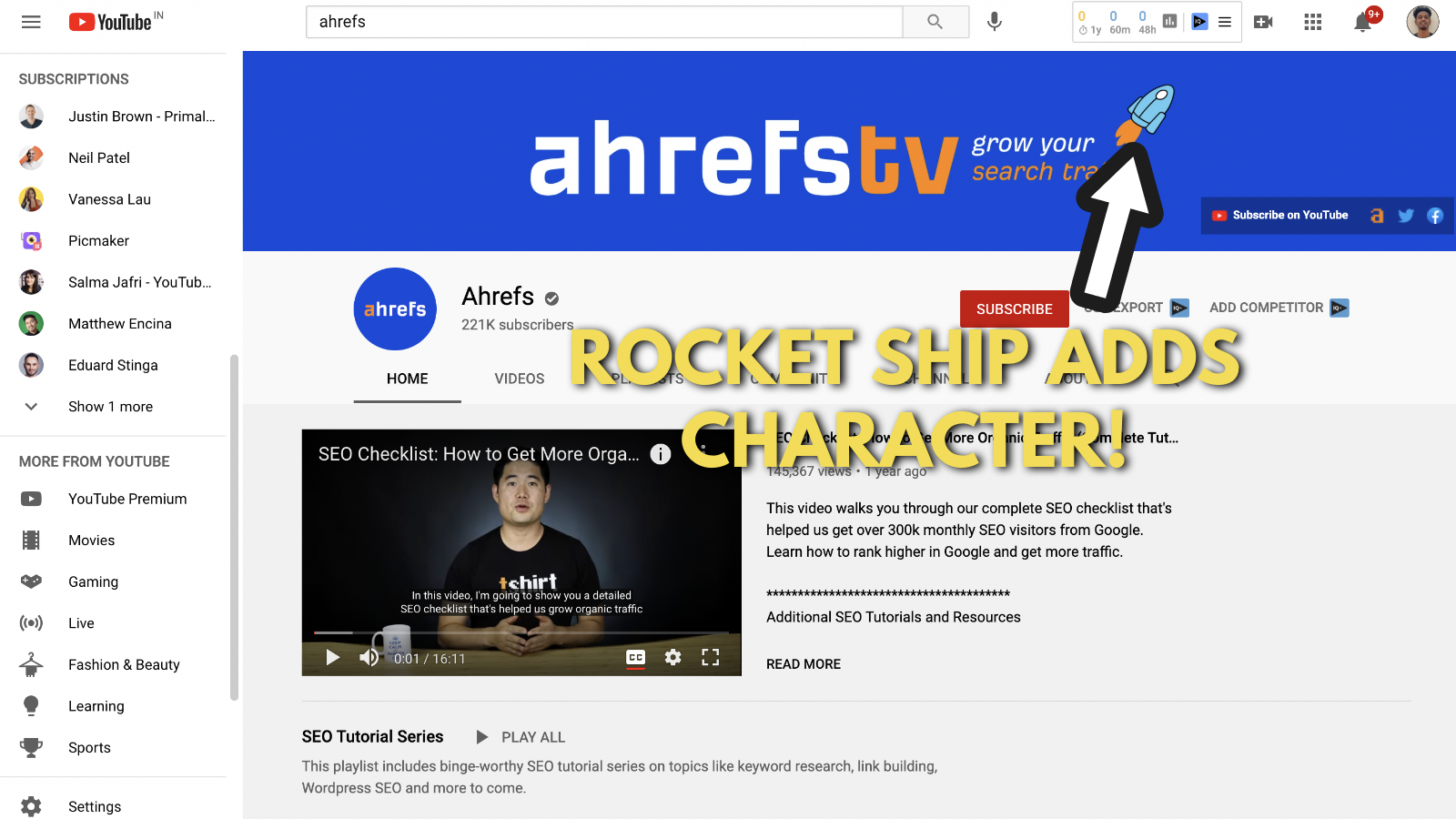 Screenshot of Ahrefs's youtube banner example 5