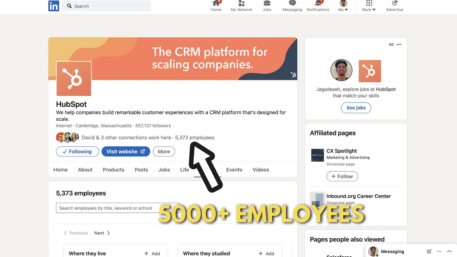 Screenshot of Hubspot's company page