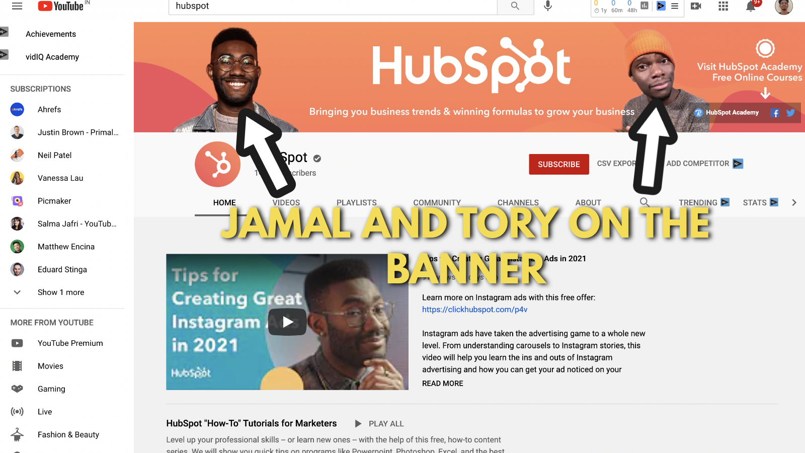 Screenshot of Hubspot's YouTube banner example 3