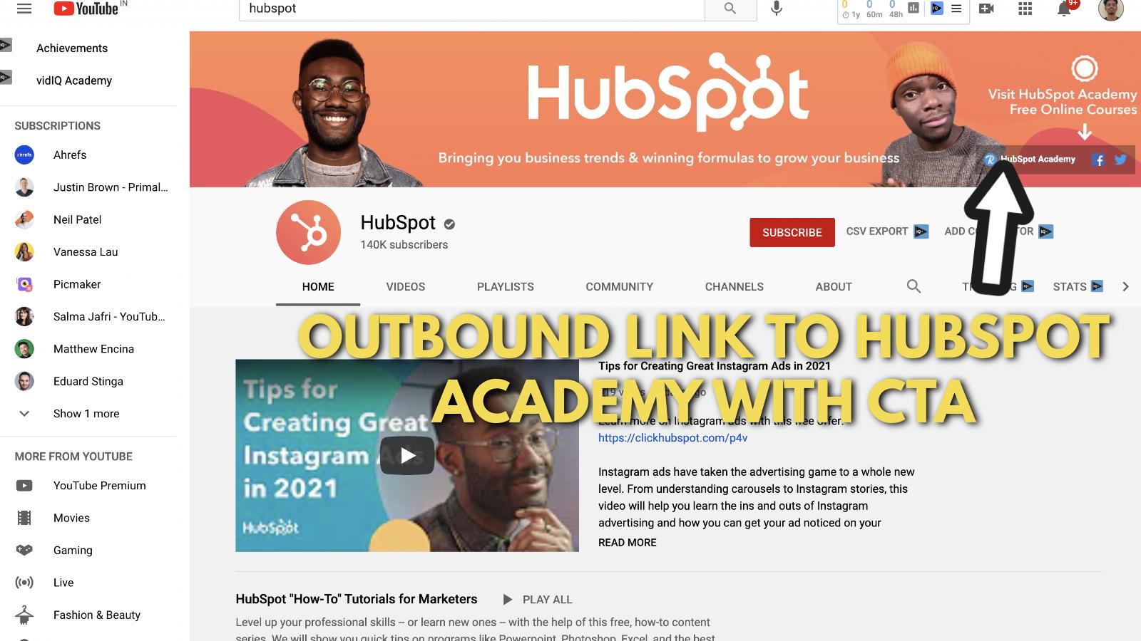 Screenshot of Hubspot's YouTube banner example 5