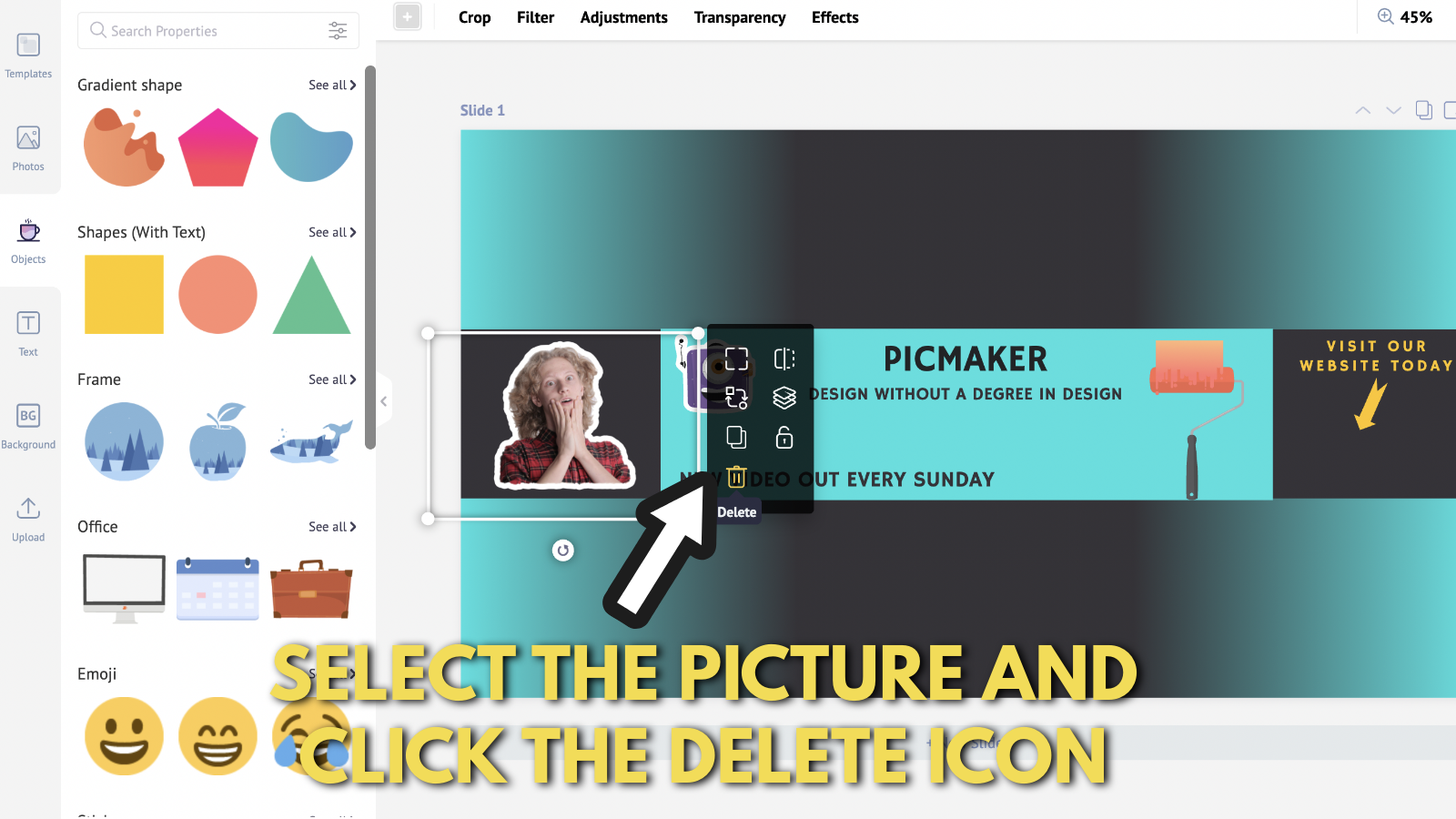 Screenshot of Picmaker's Youtube banner example blog 2