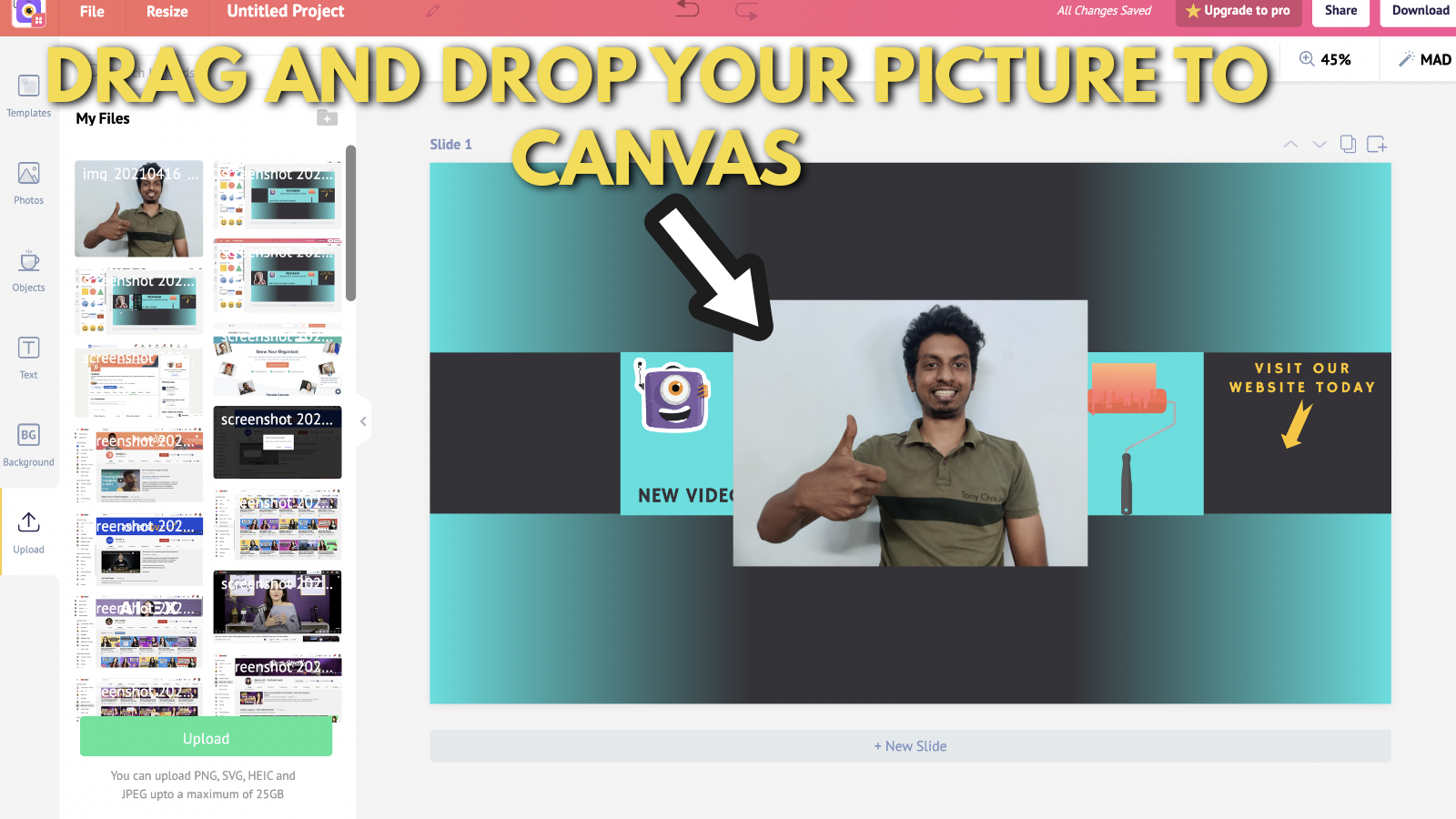 Screenshot of Picmaker's Youtube banner example blog 6