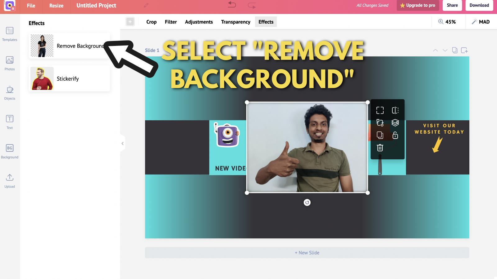 Screenshot of Picmaker's Youtube banner example blog 7
