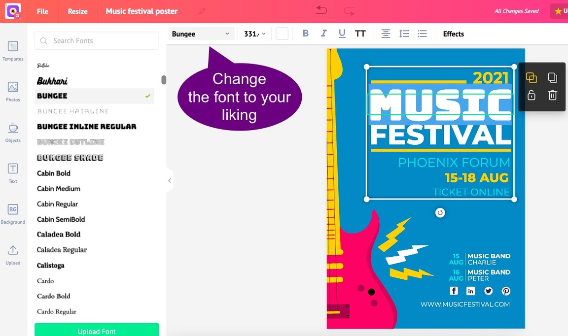 Picmaker lets you change your fonts in all poster templates