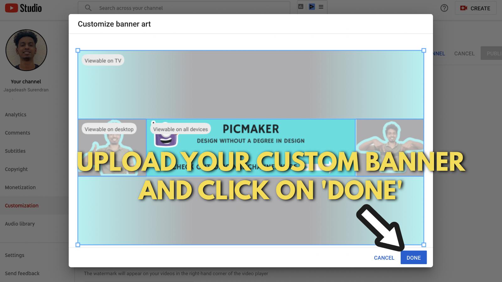 Screenshot of Picmaker's Youtube banner example blog 21