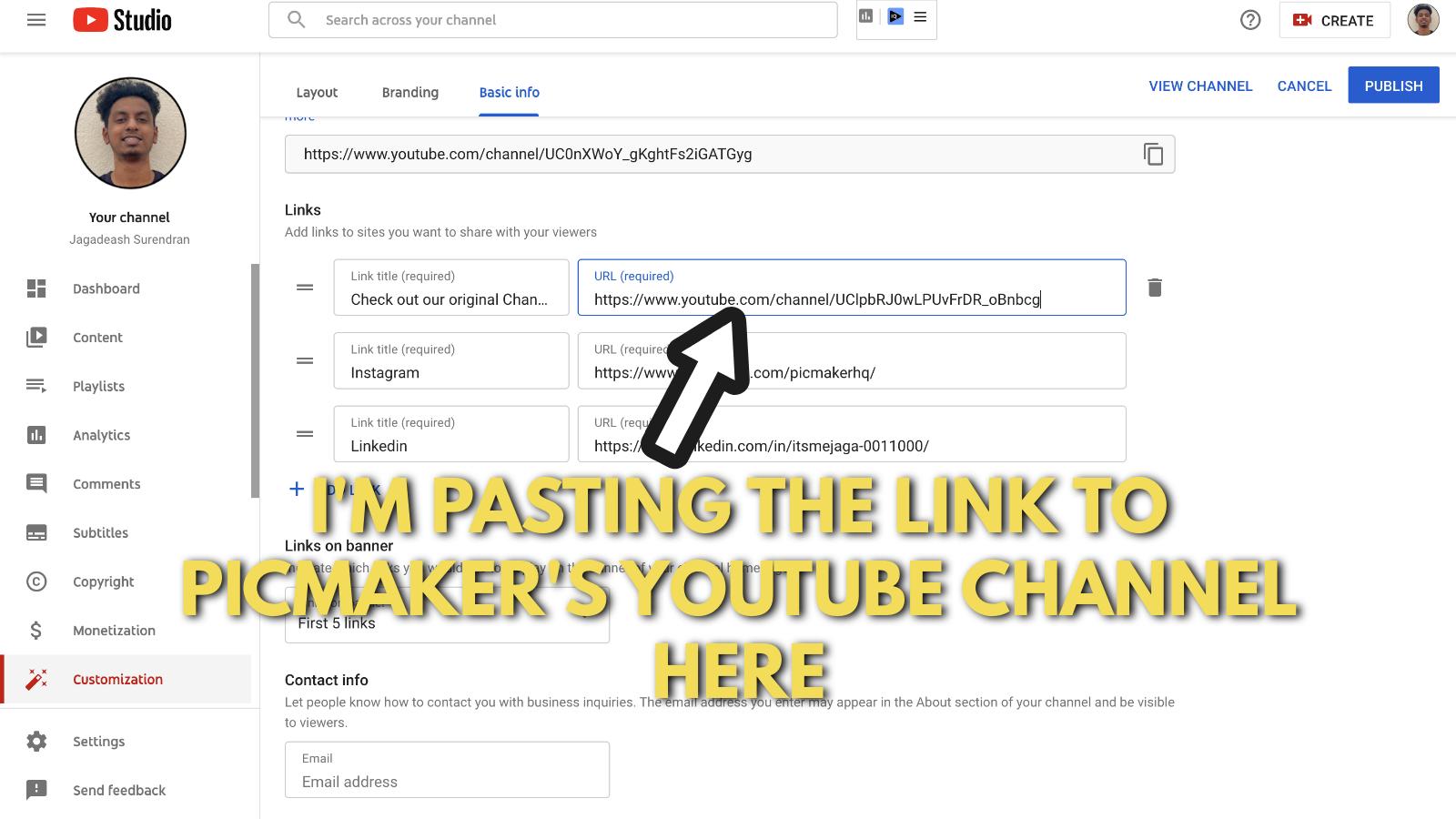 Screenshot of Picmaker's Youtube banner example blog 25