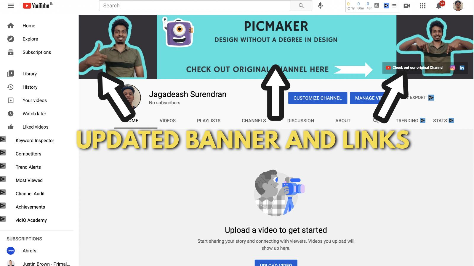 Screenshot of Picmaker's Youtube banner example blog 27