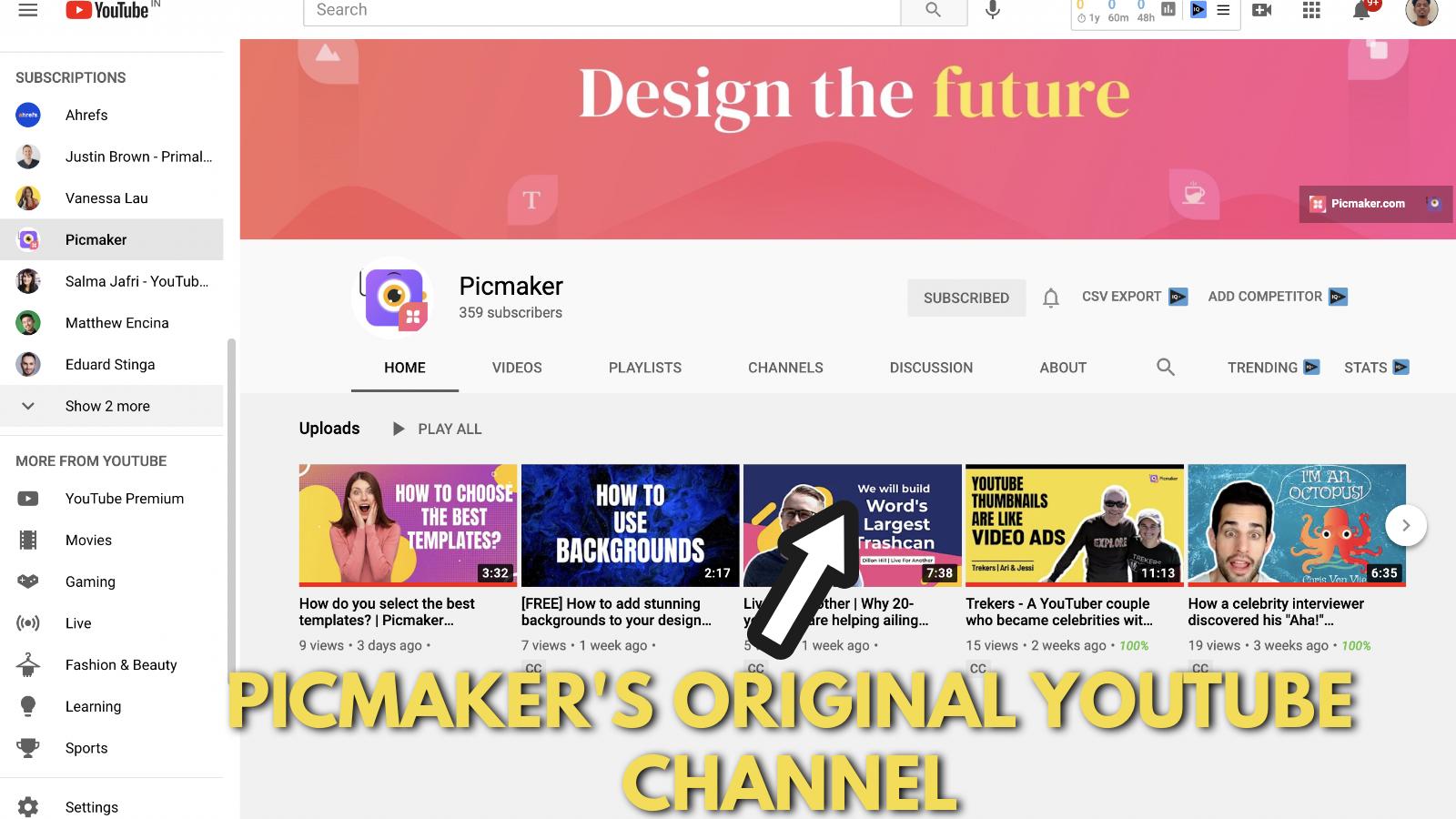 Screenshot of Picmaker's Youtube banner example blog 29